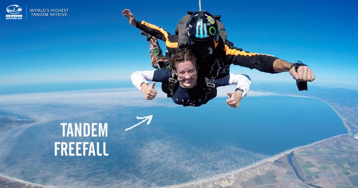 Tandem Freefalling Over Skydive Monterey Bay Near San Jose