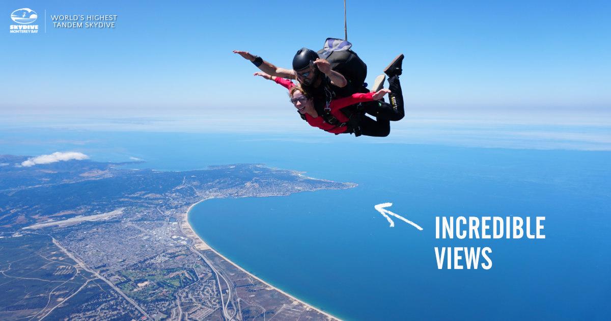 Tandem Skydiver Freefalling Over Monterey Bay