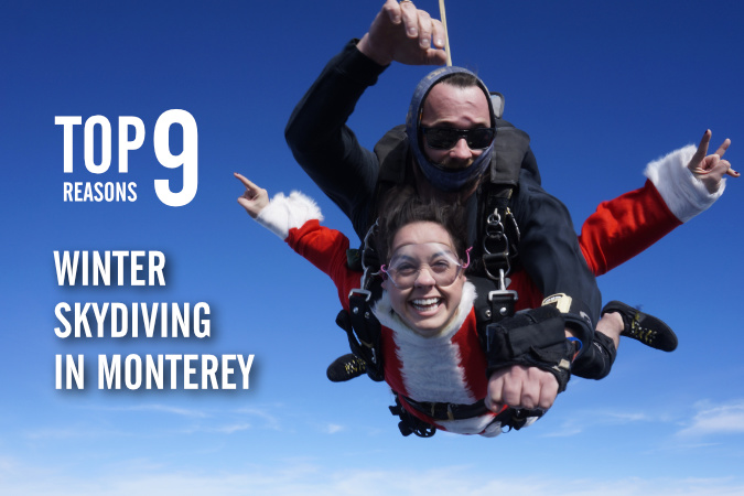 Skydiving in Winter Over Monterey Bay is Wonderful!