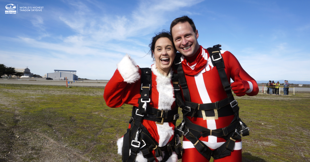 Skydive Monterey Bay_Skydiving in Winter_Two Mr Claus and Ms Claus After Skydiving